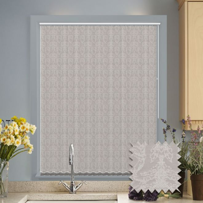 Made to Measure Versailles Taupe Pattern Vertical Blind - Just Blinds